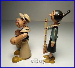 VINTAGE 1930's POPEYE & OLIVE OIL SMALL JOINTED WOOD FIGURE 3.25 RARE