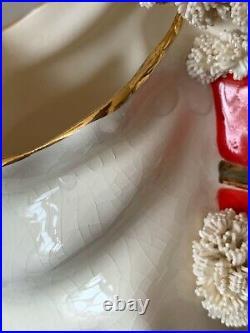 VINTAGE 9 CERAMIC SPAGHETTI SANTA with TOY BAG VASE PLANTER GOLD TRIM