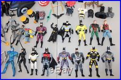 VINTAGE BATMAN TOY LOT 120pc Action Figure Batmobile Car Plane 1990s Joker Robin