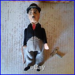 VINTAGE SCHUCO GERMAN 940 CHARLIE CHAPLIN Tin Toy DOLL FIGURE + Original Box