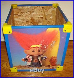 VINTAGE TROLL Chest DOLL BOX Figure Toy Storage Container Wood Plastic ART