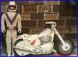 VTG Evel Knievel Action Figure & Stunt Cycle & Launcher 1970s 1973 Set Parts