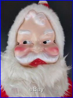 VTG Santa Plush Rubber Face B J Toy Christmas Stuffed Doll Mid Century Claus