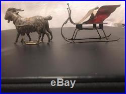 Very Rare 1870's Althof Bergmann Tin Goat Drawn Sleigh American Tin Antique Toy
