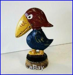 ViNtAgE Toy Cast Iron KU JAYHAWK Paperweight Kansas University Mascot Figure