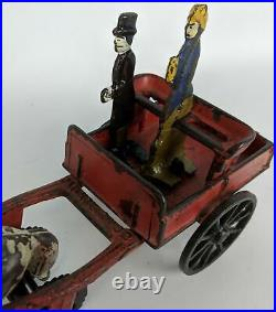 Vintage 1884 CARPENTER Cast Iron Horse-Drawn Wagon Toy with Figures