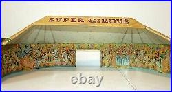 Vintage 1950s Marx SUPER CIRCUS Tin Litho Tent PLAYSET Figures 4320 Original BOX