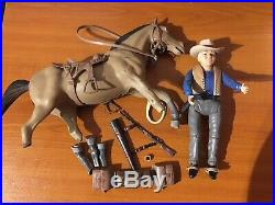 Vintage 1960s American Character Bonanza Ben Cartwright & Horse Action Figures
