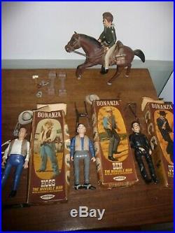 Vintage 1960s Palitoy Bonanza Figures Boxed Hoss / Ben / Outlaw + Little Joe