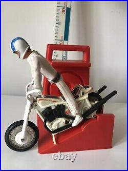 Vintage 1970s Evil Knievel Friction Bike Toy With Figure Belt And Helmet