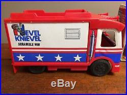 Vintage 1973 Evel Knievel Figure, Motorcycle & Scramble Van in Box & Accessories