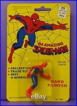 Vintage 1979 Amazing Spider-Man Toy Figure RARE Woolworth MOC Marvel Cadence
