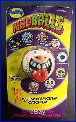 Vintage 1985 MADBALLS Series 1 toy SCREAMIN' MEEMIE ball head figure MOC popping