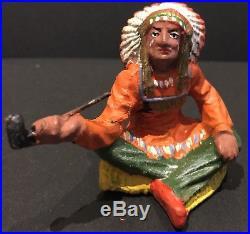 Vintage 35 Piece Elastolin Indian Composition Figure Toy Soldier Set