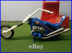 Vintage 70s Ideal Evel Knievel Stunt Cycle Chopper & Evel Action Figure
