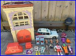 Vintage 80's Ghostbusters Toy Lot Complete Firehouse, Ecto-1, Figures