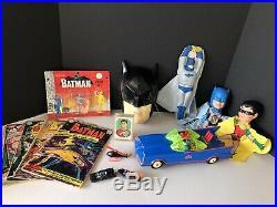 Vintage Batman Toy Lot Aoshin Batmobile Ideal Figure Set Husky Set + More