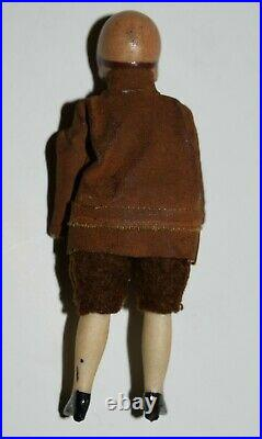 Vintage Bisque Doll Pilot Amelia Earhart Tin Toy Airplane Dolls House Figure