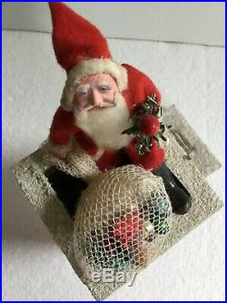 Vintage Composition Santa Claus On Chimney With Ladder & Toy Bag Decoration