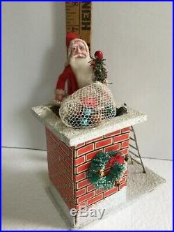 Vintage Composition Santa Claus On Chimney With Ladder & Toy Bag Decoration