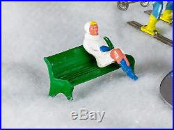 Vintage Diecast Barclay Winter Figures Skiers, Sledders, Skaters, Santa, Sleigh