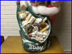 Vintage Empire 48 Santa Claus Christmas Lighted Blow Mold Toy Sack Great Patina