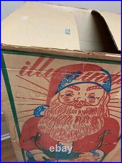 Vintage Empire Blow Mold Lighted 46 Christmas Santa Claus Toy Sack Original Box