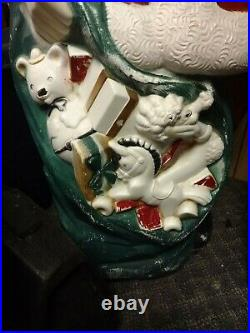 Vintage Empire Blow Mold Lighted 46 Christmas Santa Claus with Toy Sack MCM