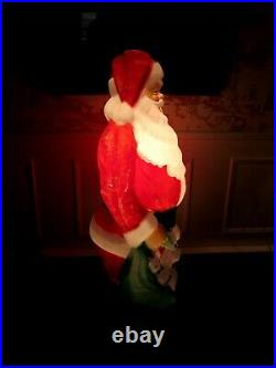 Vintage Empire Blow Mold Lighted 46 Christmas Santa Claus with Toy Sack USA MCM