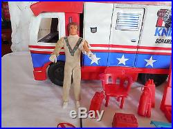 Vintage Evel Knievel scramble van withsome accessories & Evel action figure 1973
