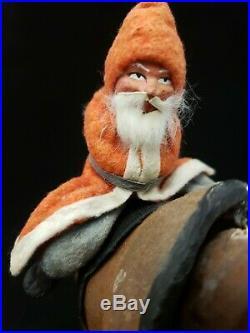 Vintage German 1930's Santa on Donkey Nodder Pull Toy