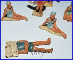 Vintage Grey Iron Beach Figure Die Cast Antique Toys Original 1930