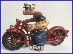 Vintage HUBLEY cast iron POPEYE MOTORCYCLE 1930s toy figure patrol cycle rare