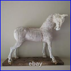 Vintage Hand Carved Rocking Horse Maquette Model Figure Decorative Interiors