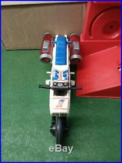 Vintage Ideal Evel Knievel Jet Cycle With Box and Nice Figure. Decals Etc
