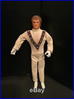 Vintage Ideal Evel Knievel Stunt Cycle Chrome Pipes with Launcher & Figure NICE