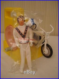 Vintage Ideal Evel Knievel Stunt Cycle & Launcher Toys Evil Action Figure with Box