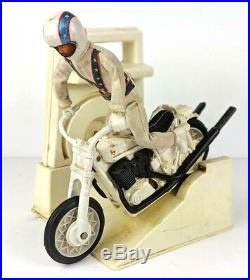 Vintage Ideal Evel Knievel Stunt Cycle and Launcher Toys Evil Action Figure 70's
