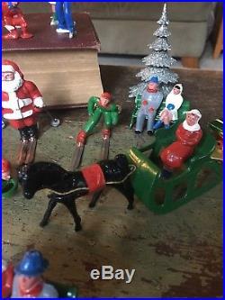 Vintage Lead Figure LOT Toy Winter Scene Skaters Skiers Santa Horse Drawn Sleigh