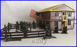Vintage MARXVILLE ARMY BARRACKS with 19 Hard To Find 40mm SOLDIER FIGURES