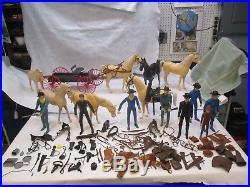 Vintage Marx 1960's HUGE LOT Johnny West Figures Horses Tack Wagon & Accessories