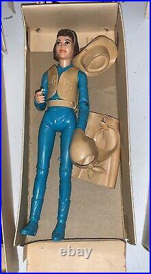 Vintage Marx Johnny West Janice Josie Jamie West & Pancho Figures In Box