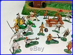 Vintage Marx Miniature Knights & Castle Playset with Box & Figures