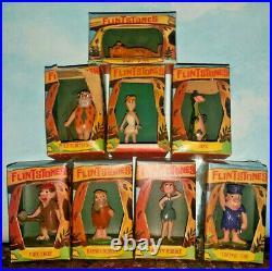 Vintage Marx TV Tinykins Flintstones Boxed Plastic Figures Complete Set of 8