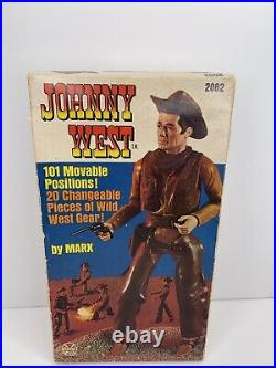 Vintage Marx Toys Johnny West Cowboy 11 Action Figure 2062 withBox/Accessories