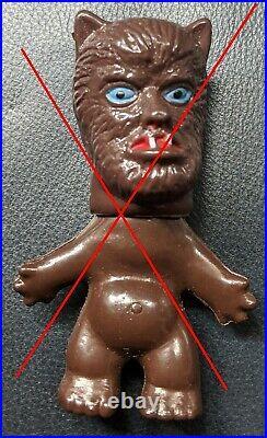 Vintage Monster Men WOLFMAN Toy MIP Wolf Man Hong Kong 60s NIk Troll Doll Figure