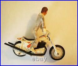 Vintage Original 1972 Ideal Evel Knievel Stunt Cycle Orange Launcher, Figure