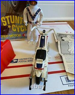 Vintage Original Early Evel Knievel Chrome Stunt Cycle Ideal 1973 Action Figure