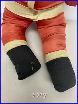 Vintage Santa Claus Doll Cloth Celluloid Face Stuffed 27 Christmas Toy Display