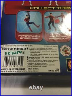 Vintage Toy Biz 2002 Marvel Spider-Man movie figure wrestler Spider-Man On Card